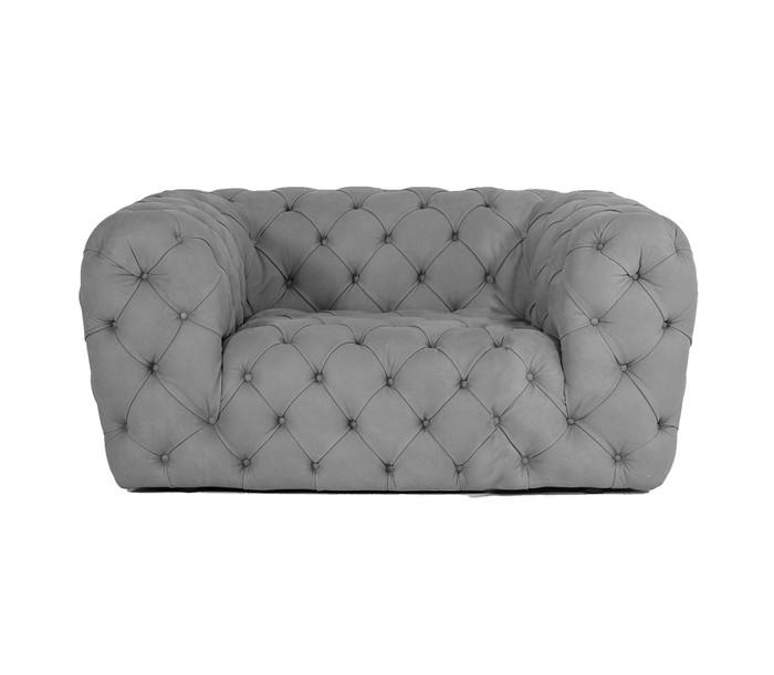 Coronelli Collezioni Ellington - Italian Grey Nubuck Leather Accent Chair VGCCRIALTO-GRY-CH