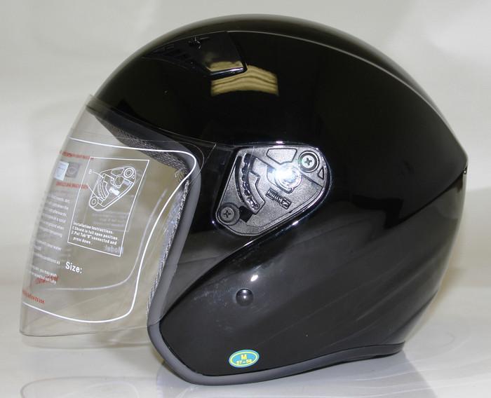 RK5B Rk5B - Black Dot Motorcycle Helmet Rk-5 Open Face With Flip Shield By Nuorder