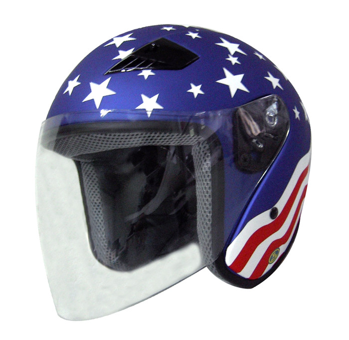 RK5A Rk5A - America Dot Motorcycle Helmet Rk-5 Open Face With Flip Shield By Nuorder