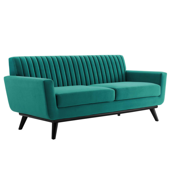 EEI-5458-TEA Engage Channel Tufted Performance Velvet Loveseat By Modway