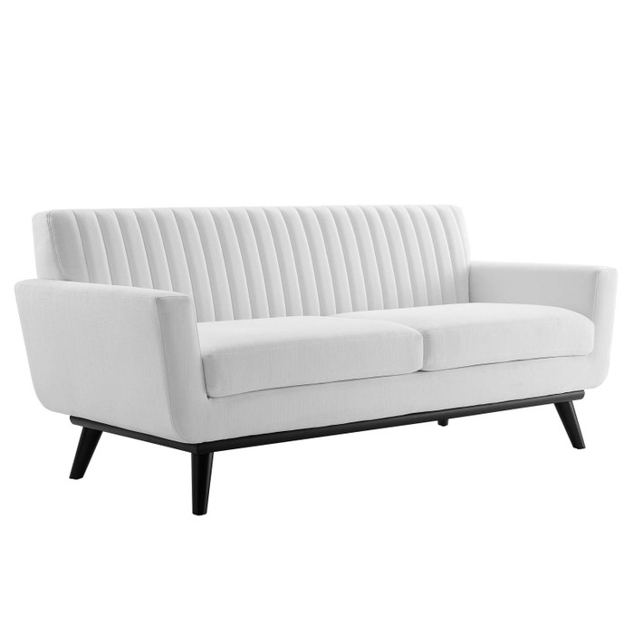 EEI-5461-WHI Engage Channel Tufted Fabric Loveseat By Modway