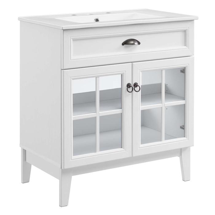 "EEI-5425-WHI-WHI Isle 30"" Bathroom Vanity Cabinet By Modway"
