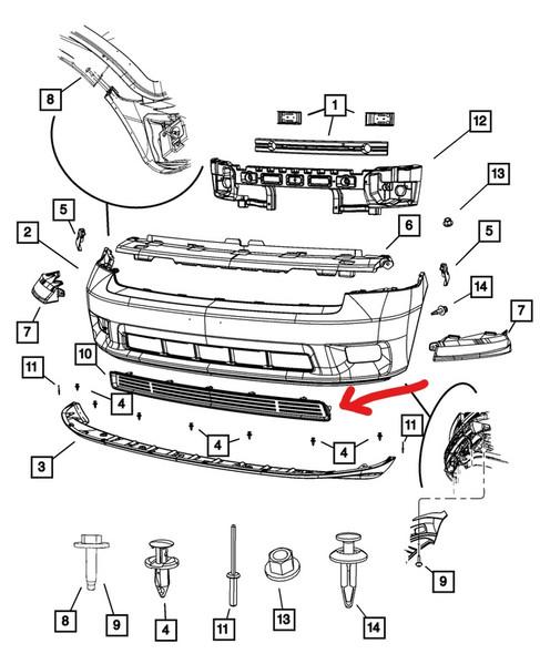 Dodge Ram onder grill tekening