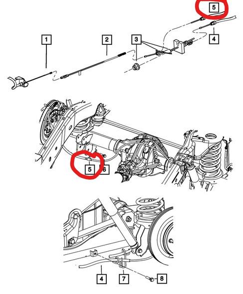 Dodge Ram handremkabel 2009+ tekening