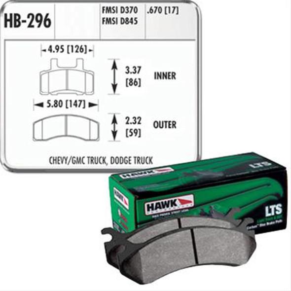 HAWK LTS Remblokken voorzijde RAM 2500/3500 94/99 Dana 44