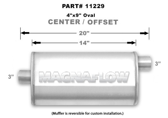"Magnaflow Demper 4""x9"" 14"" Center 3"" in excenter 3""out"