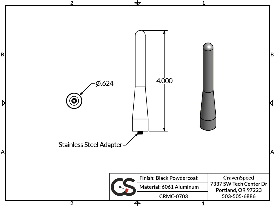 Image to Show Scale for CRMC-0703 The Original Stubby Antenna for 2013-2018 Subaru XV Crosstrek