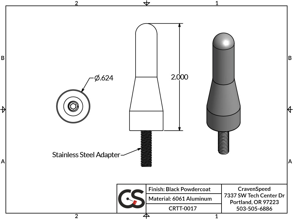 Stubby JR Antenna Replacement for 2005-2016 Toyota SR5 (Hilux)