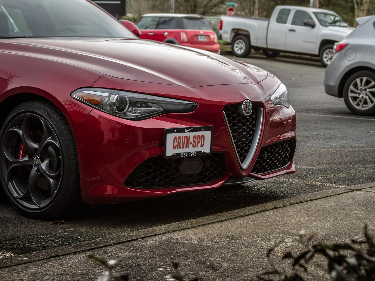 The CravenSpeed Platypus License Plate Mount installed on a 2018 Alfa Romeo Giulia Quadrifoglio.
