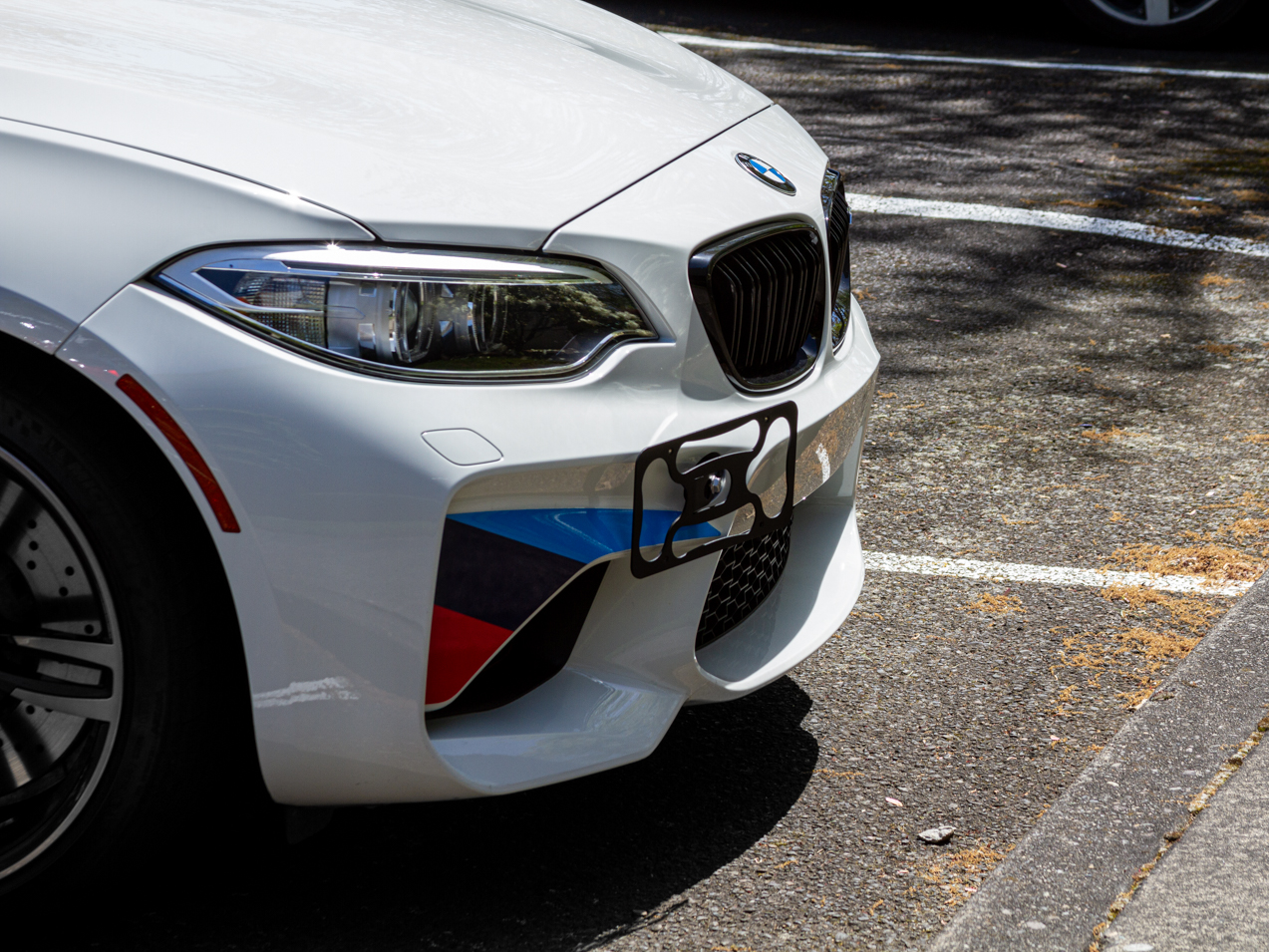The CravenSpeed Platypus Front License Plate Mount installed on a 2017 BMW M2 F87.