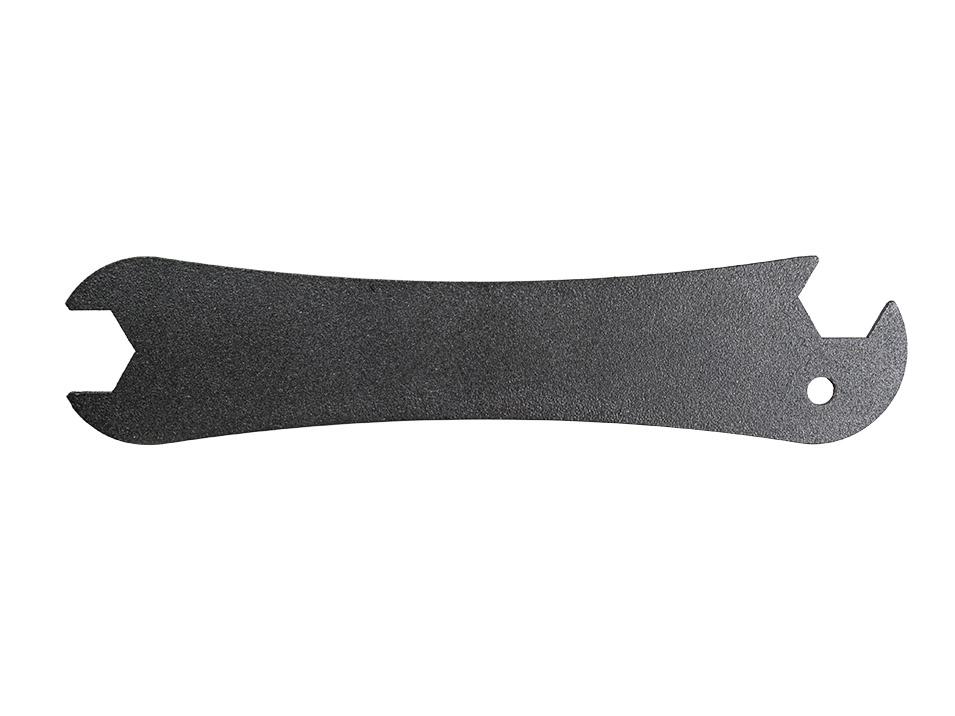 Powder coated 12 gauge steel low-profile wrench for the CravenSpeed Platypus License Plate Mount for Tesla Model 3.