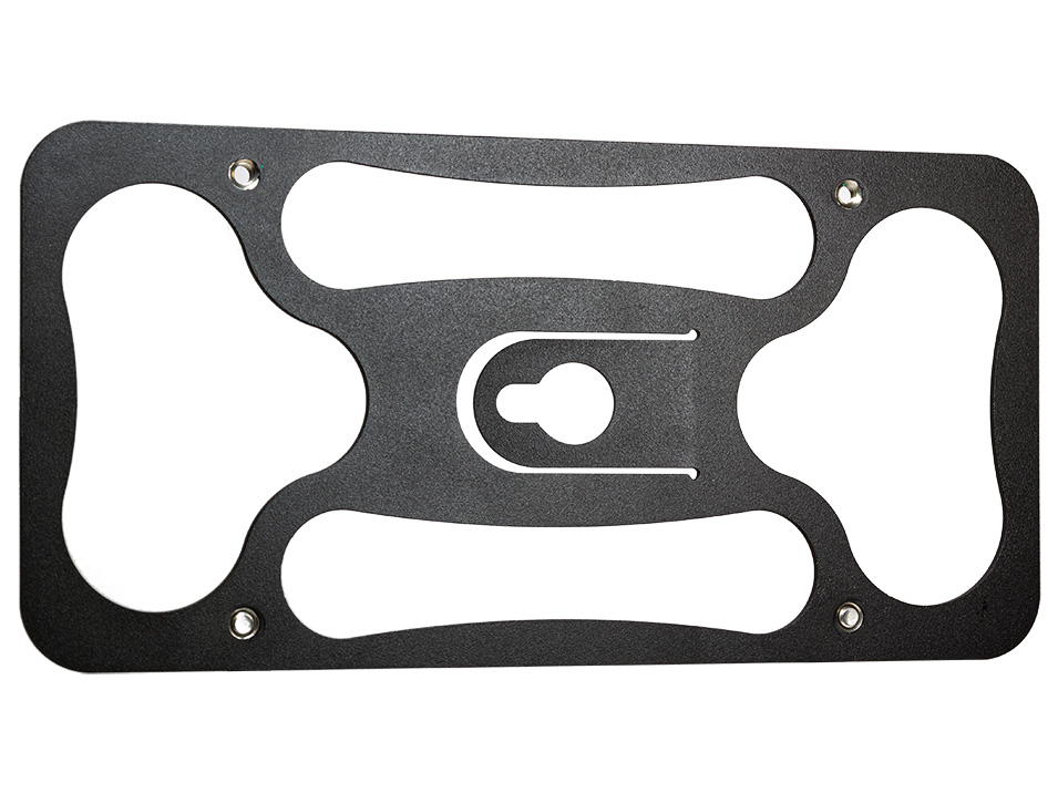 Powder coated 12 gauge steel back plate for the CravenSpeed Platypus License Plate Mount for Tesla Model 3.