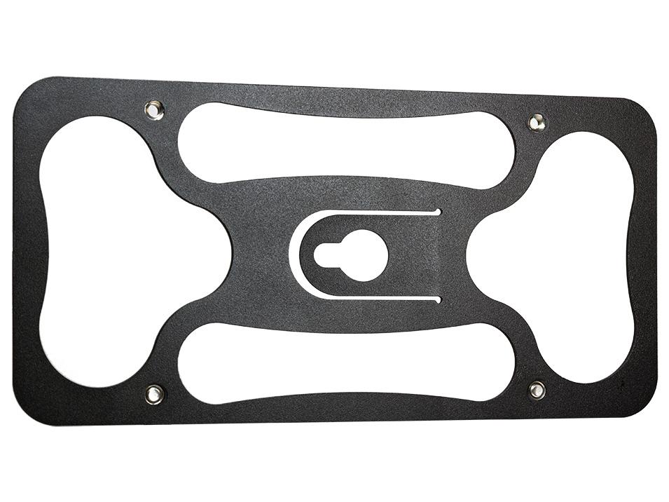 Powder coated 12 gauge steel back plate for the CravenSpeed Platypus License Plate Mount for Tesla Model 3.