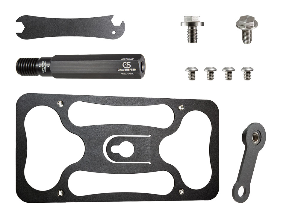 All of the parts included with for the CravenSpeed Platypus License Plate Mount for Tesla Model 3.