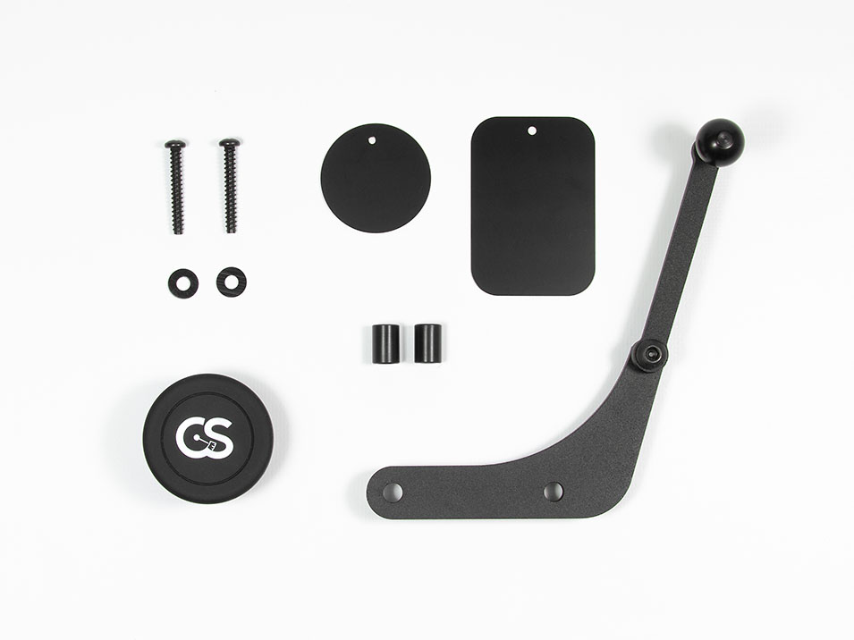 All of the parts included with the magnet version of the CravenSpeed Gemini Phone Mount for MINI Cooper R53.