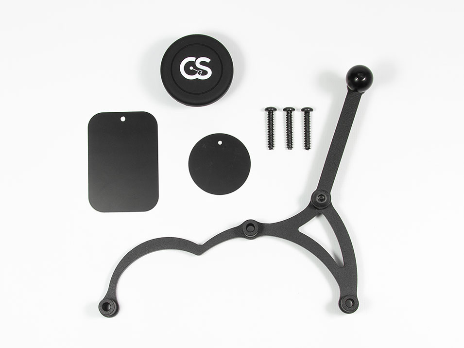 All of the parts included with the magnet version of the CravenSpeed Gemini Phone Mount for MINI Cooper F56.