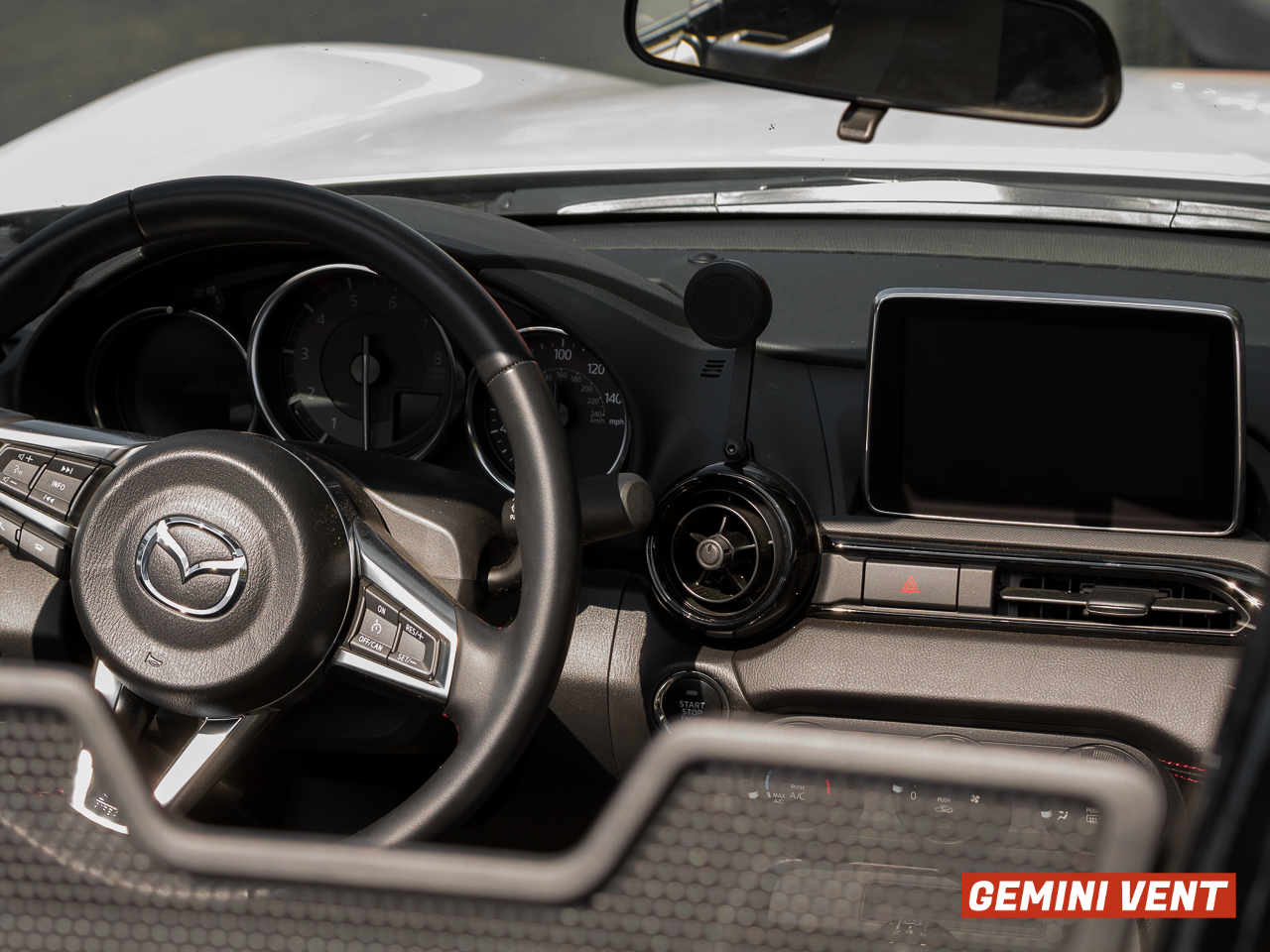 The CravenSpeed Gemini Vent Phone Mount installed in a 2016 ND MX-5 Miata.