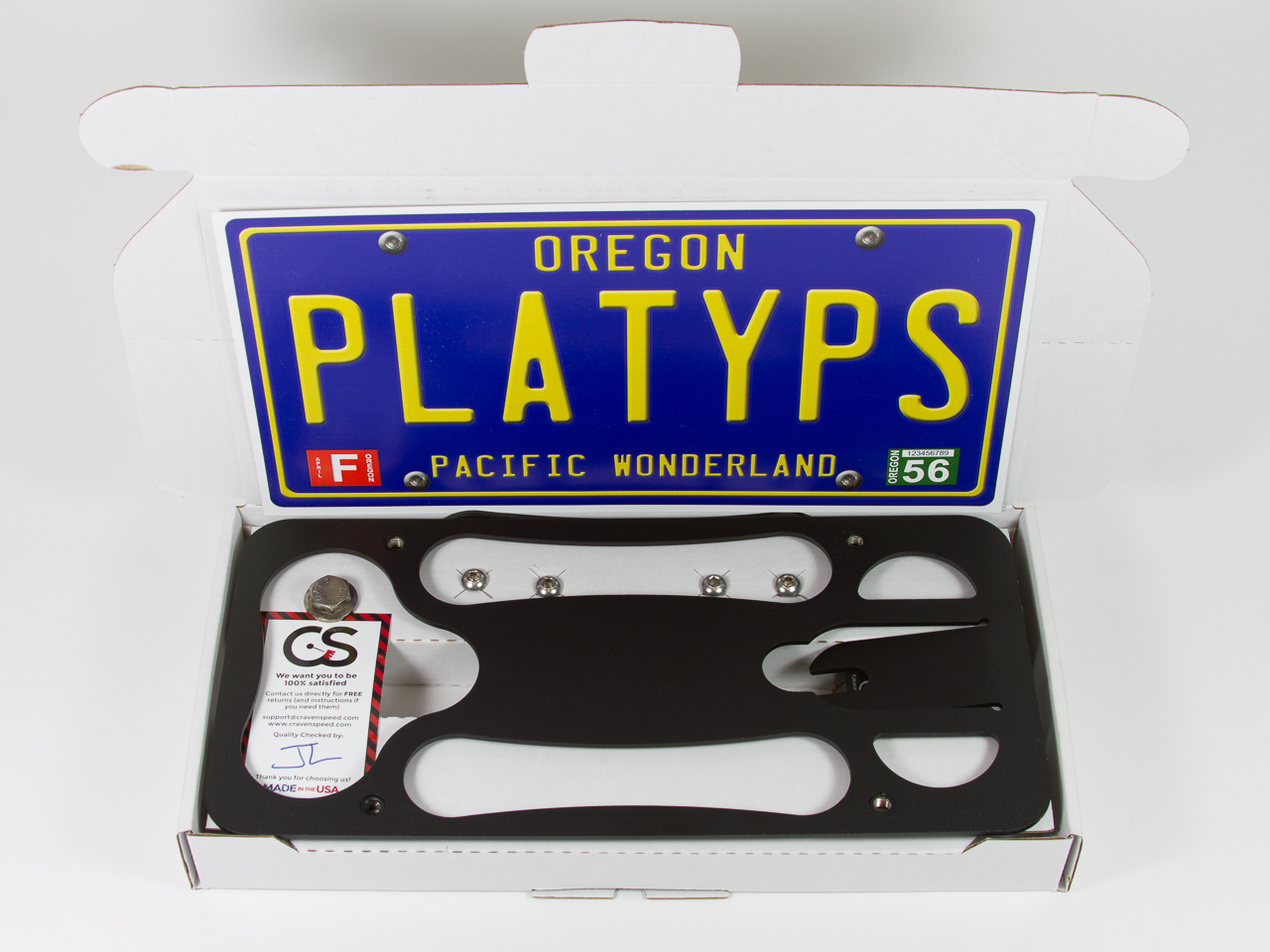 Assembled kit of The Platypus License Plate Mount for 2013-2019 Ford Escape