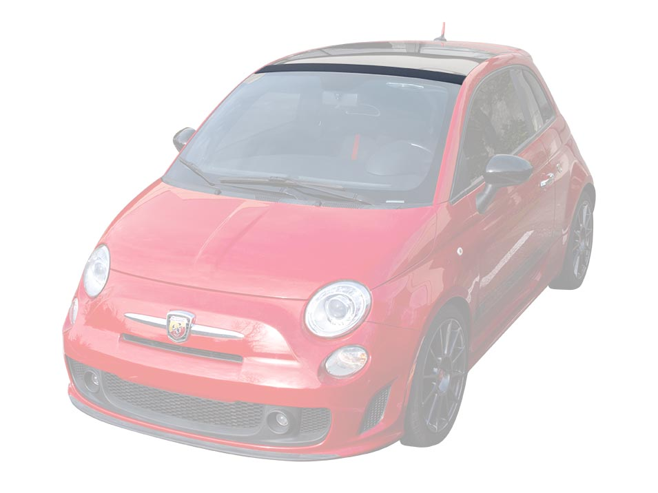 A Fiat 500 Abarth with the CravenSpeed roof trim protector installed.
