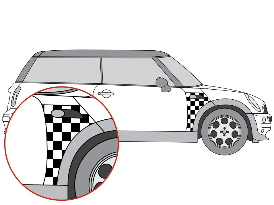 mini cooper r53 side scuttle checker decal thumbnail