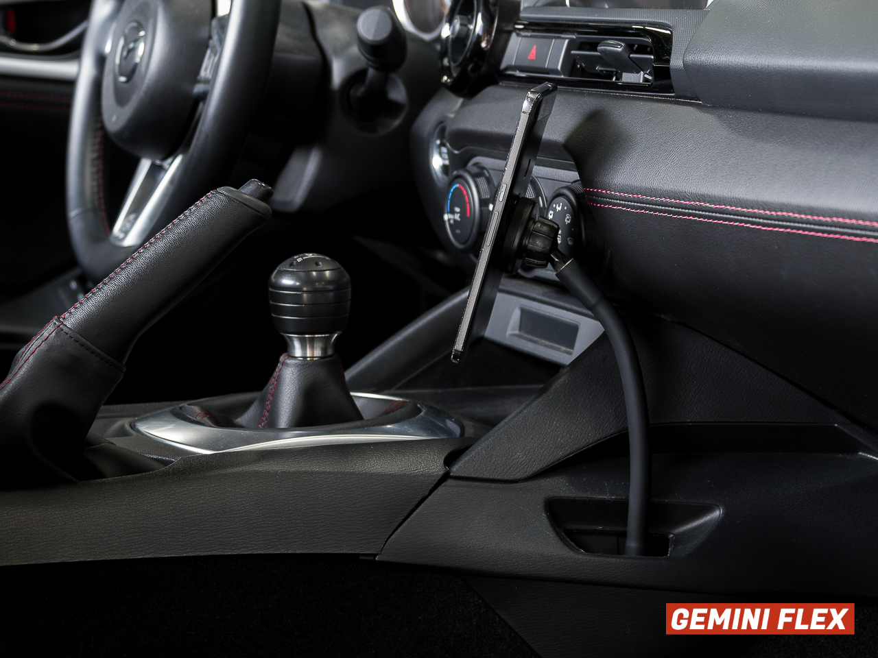 Installed photo of the Gemini Device Mount for ND Miata (2016-2021) Flex