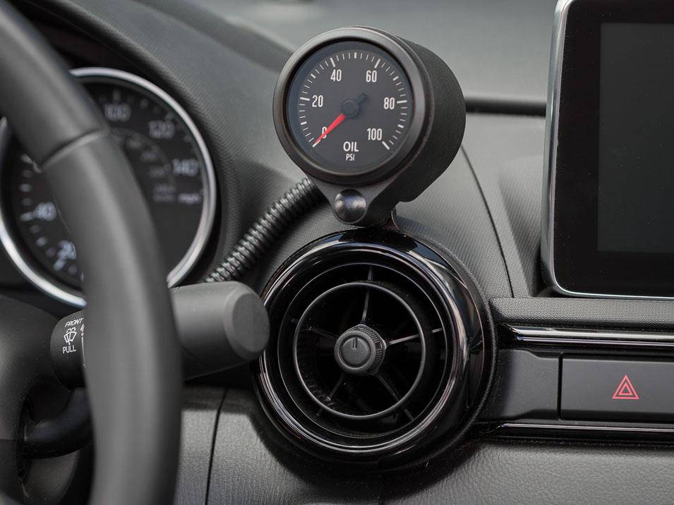 The CravenSpeed Vent Gauge Pod installed on a 2014 Mazda MX-5 Miata ND
