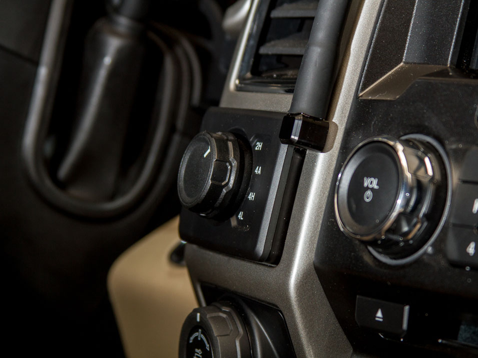 Close up of the base plate on the CravenSpeed Gemini Phone Mount in a 13th Gen F-150