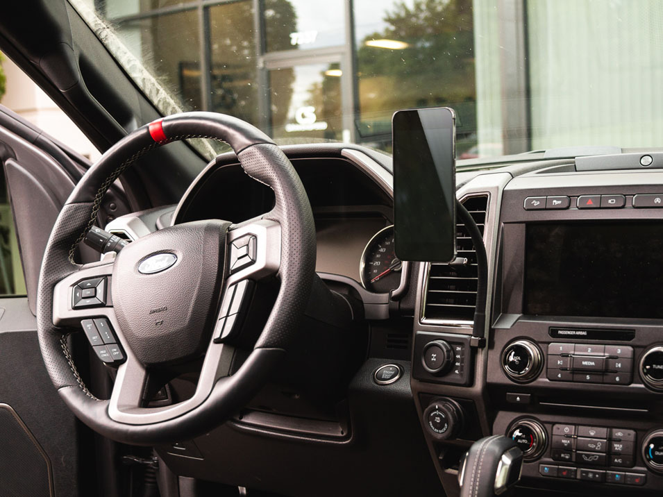 The magnetic module of the CravenSpeed Gemini Phone Mount in a 2nd Gen Ford Raptor