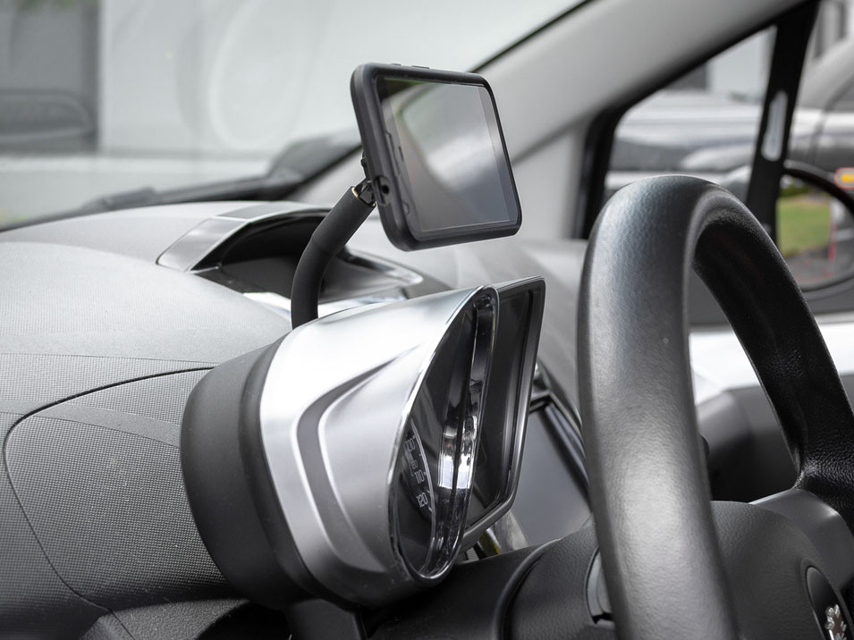 Left side view of the CravenSpeed Gemini Phone Mount for 2009-2015 Chevrolet Spark