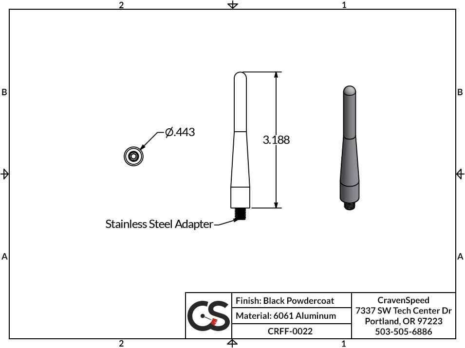 Image to Show Scale for CRFF-0022 The Original Stubby Antenna for 2012-2020 BMW R1200 RT