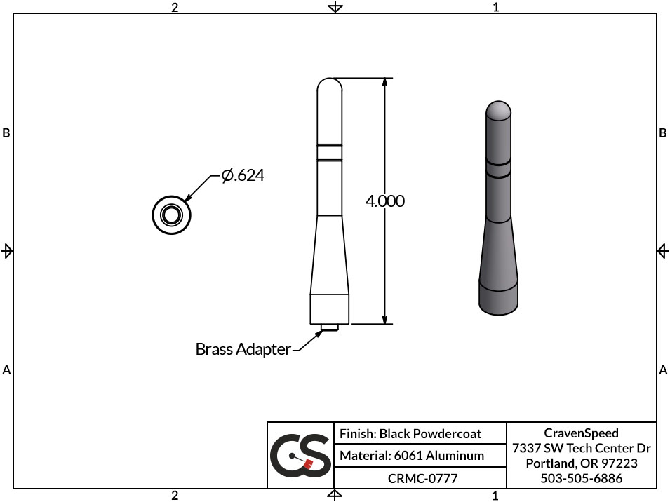Image to Show Scale for CRMC-0777 The Original Stubby Antenna for 2016-2017 Buick Enclave