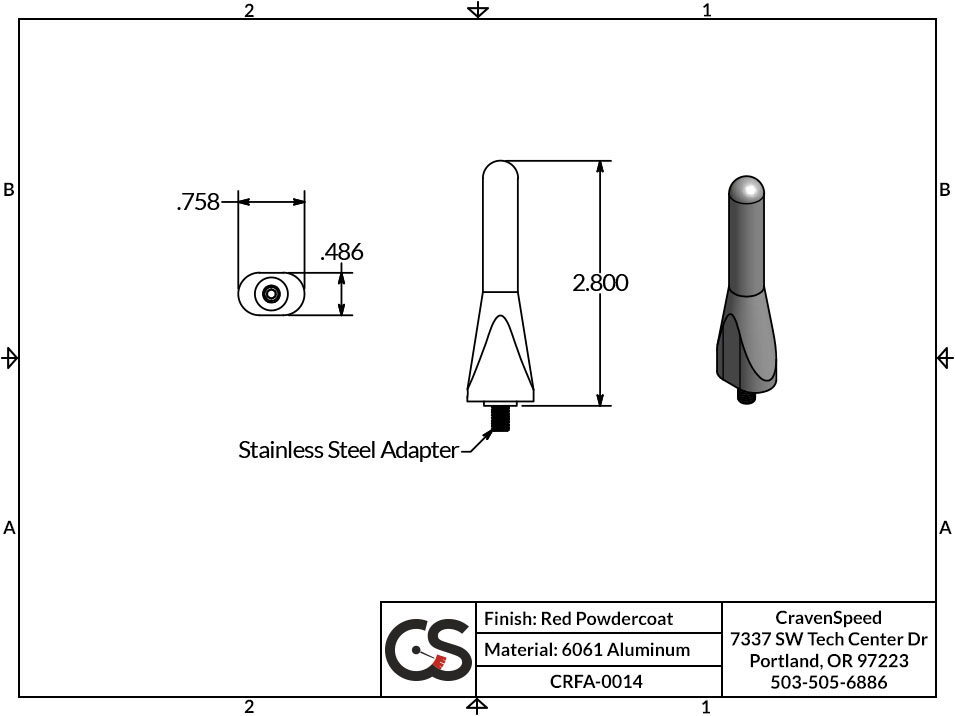 Image to Show Scale for CRFA-0014 The Original Stubby Antenna for 2011-2018 Fiat 500 (Red)