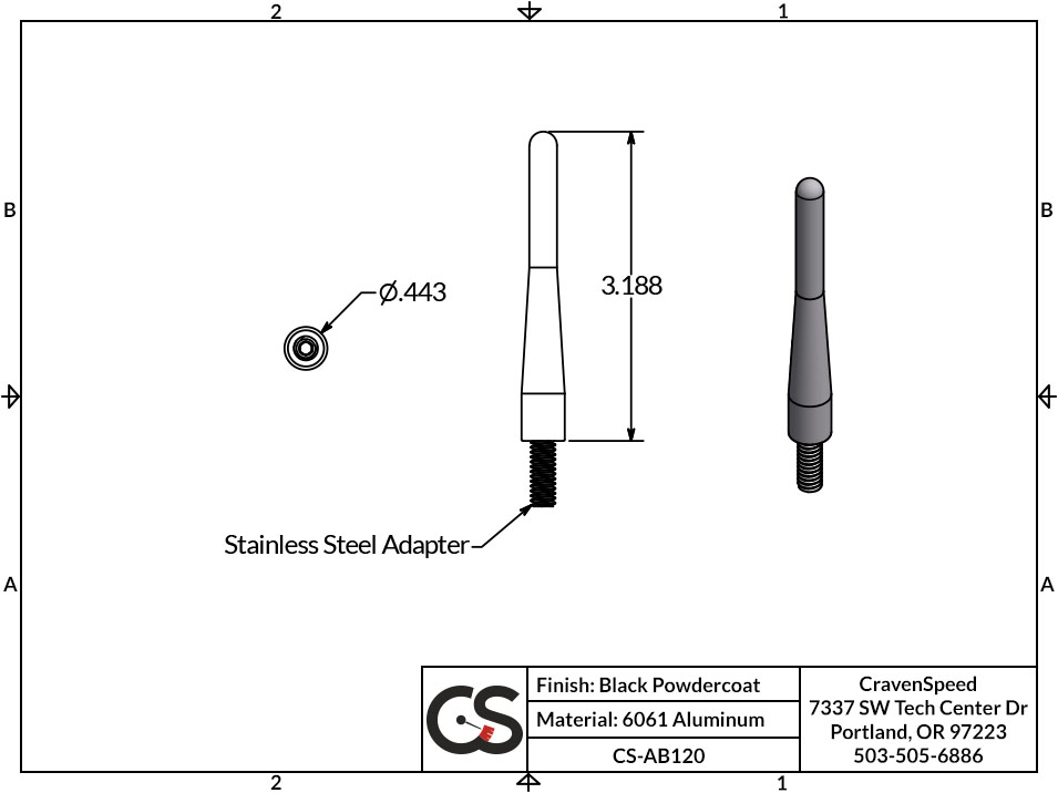 Image to Show Scale for CS-AB120 The Original Stubby Antenna for 2011-2019 Ford F-350