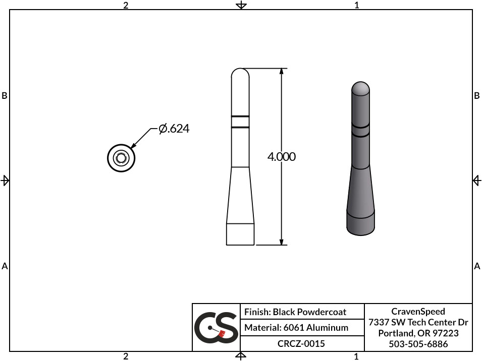 Image to Show Scale for CRCZ-0015 The Original Stubby Antenna for 2000-2007 Ford Focus