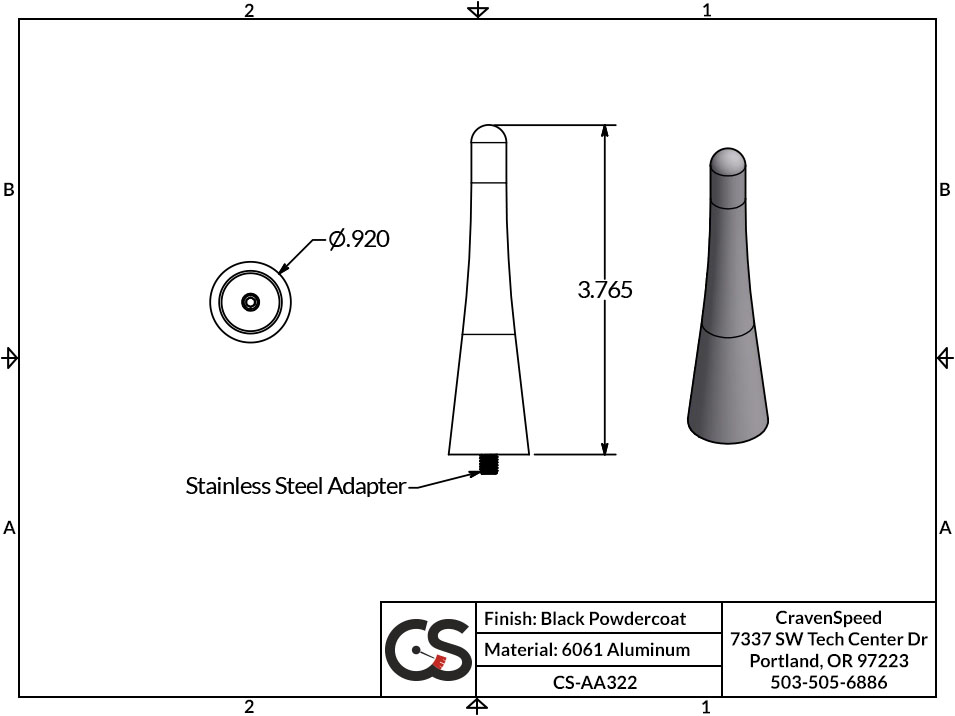 Image to Show Scale for CS-AA322 The Original Stubby Antenna for 2015-2019 Ford Mustang Convertible