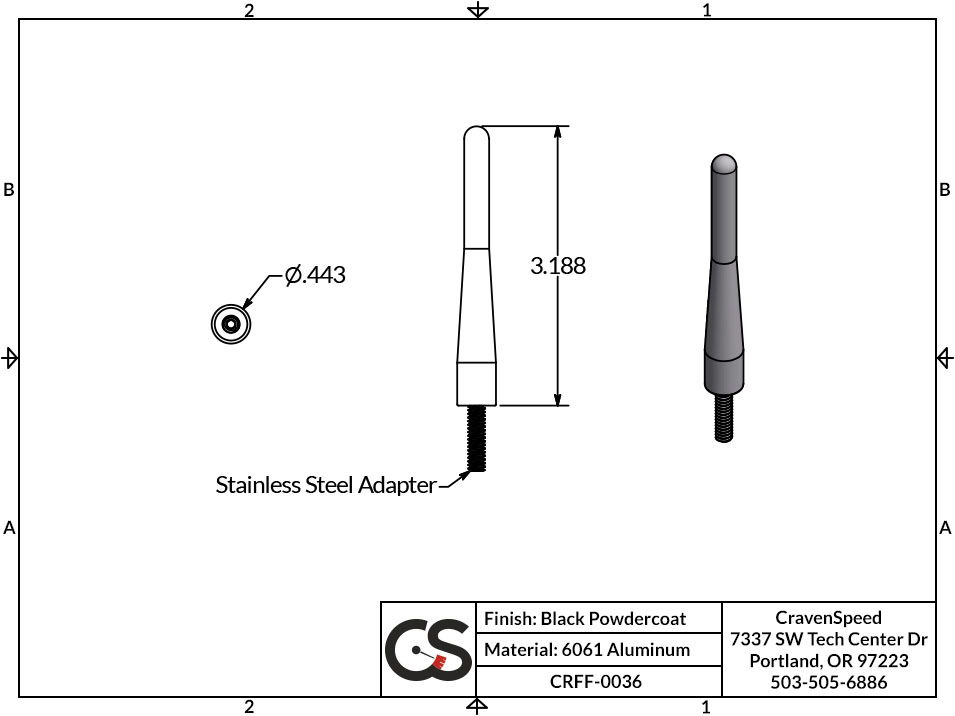 Image to Show Scale for CRFF-0036 The Original Stubby Antenna for 1983-2012 Ford Ranger