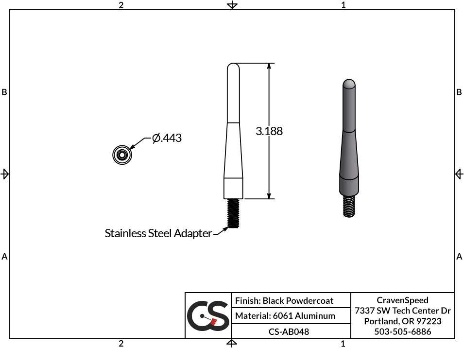 Image to Show Scale for CS-AB048 The Original Stubby Antenna for 2010-2018 Ford Raptor