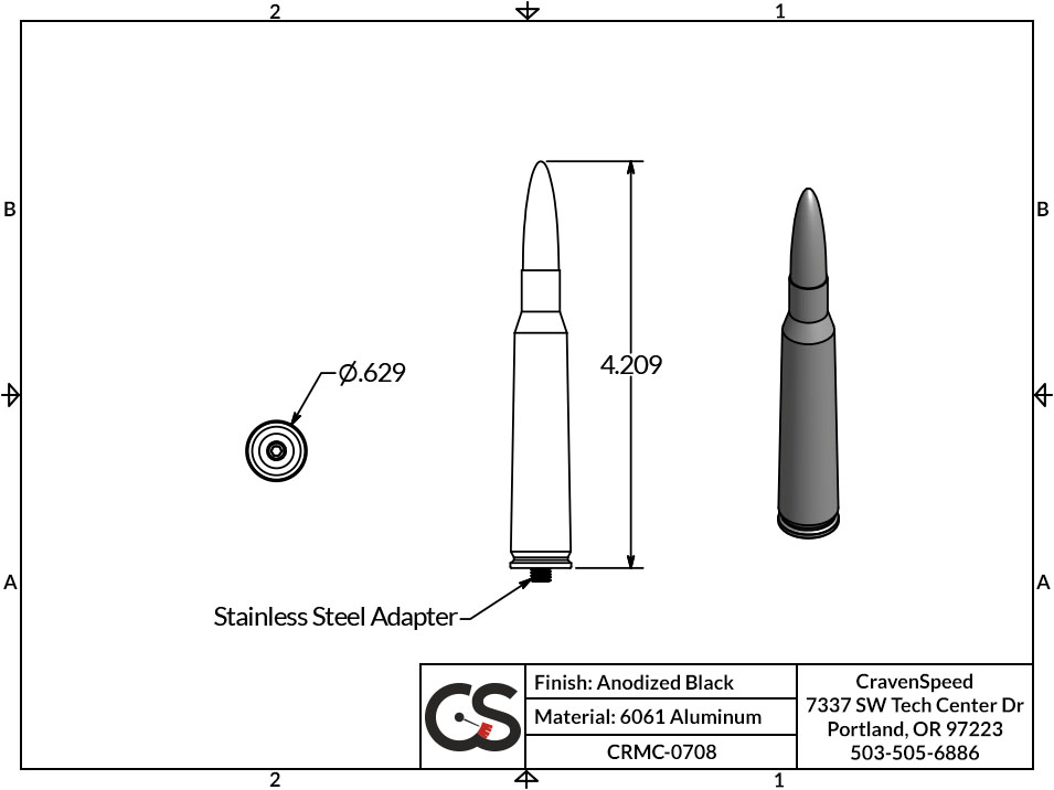 Image to Show Scale for CRMC-0708 Bullet Style Stubby Antenna for 2007-2015 GMC Acadia