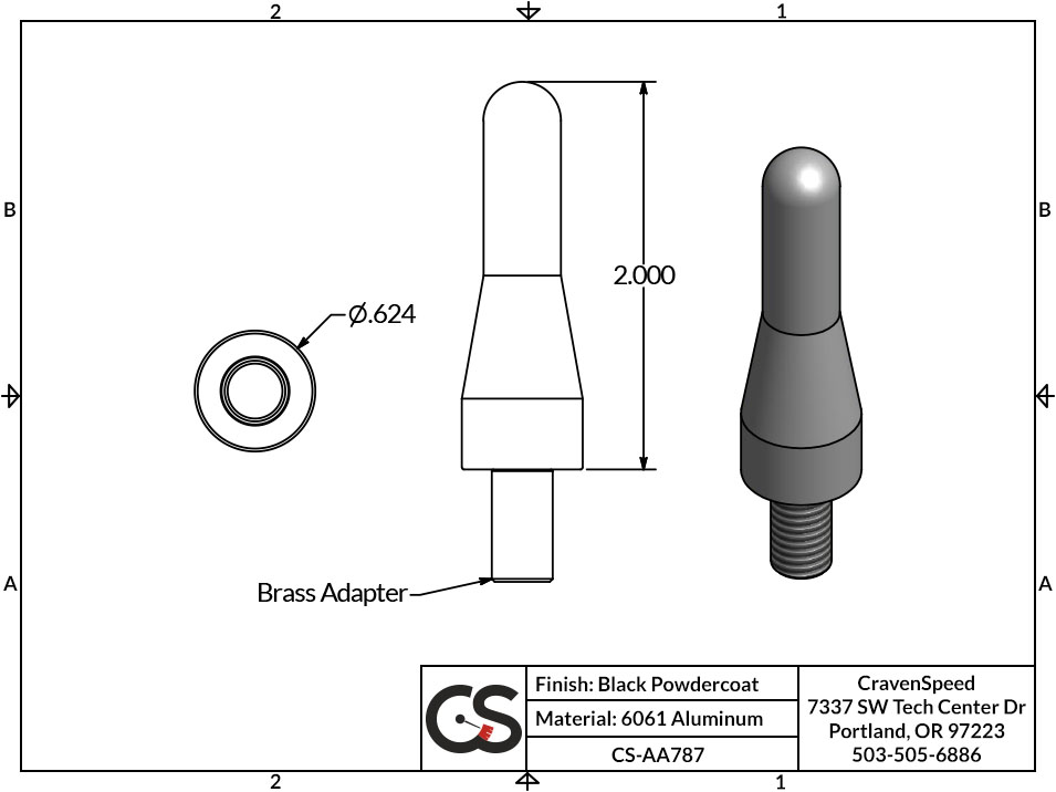 Image to Show Scale for CS-AA787 Stubby JR Antenna for 2006-2018 Honda Goldwing GL1800