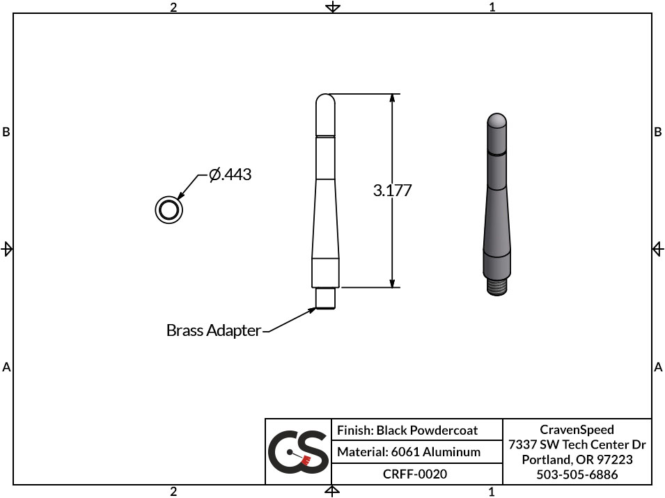 Image to Show Scale for CRFF-0020 The Original Stubby Antenna for 2002-2007 Jeep Liberty (KJ)