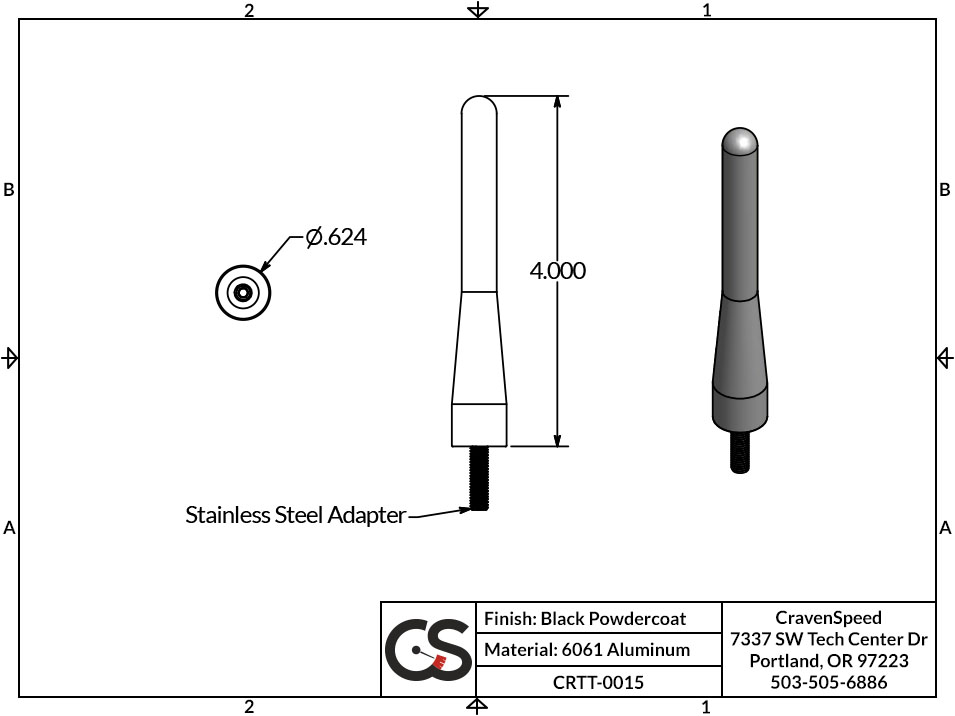 Image to Show Scale for CRTT-0015 The Original Stubby Antenna for 1992-1998 Mazda Miata