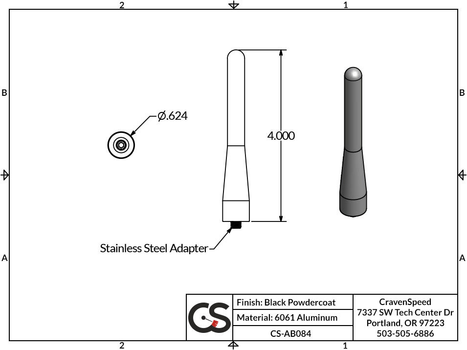 Image to Show Scale for CS-AB084 The Original Stubby Antenna for 2012-2015 MINI Coupe