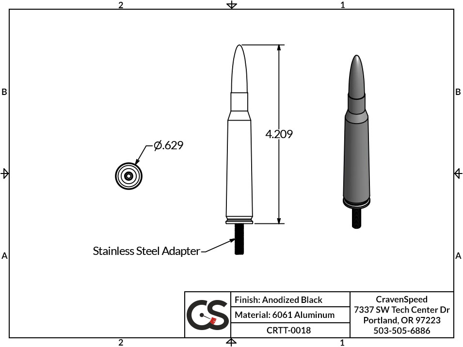 Image to Show Scale for CRTT-0018 Bullet Style Stubby Antenna for 1998-2019 Nissan Frontier