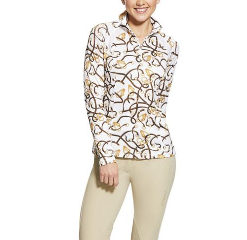 Ariat Sunstopper 2.0 Women's 1/4 Zip Long Sleeve Shirt - Bridle Print