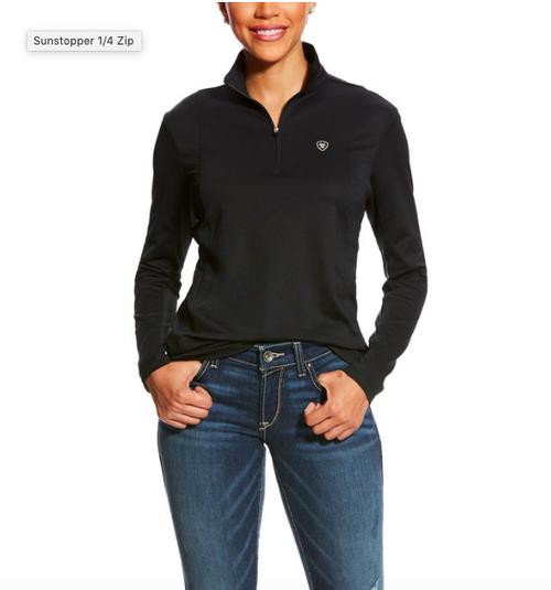 Ariat Sunstopper Men's 1/4 Zip Long Sleeve Shirt - Black