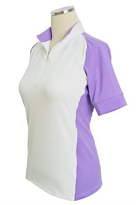 EIS Cool Women's Short Sleeve Shirt - White/Lavender