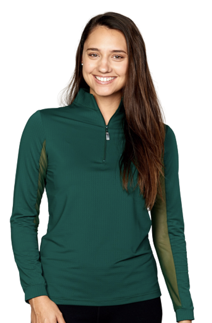 EIS Cool Women's Solid Long Sleeve Shirt - Hunter Green