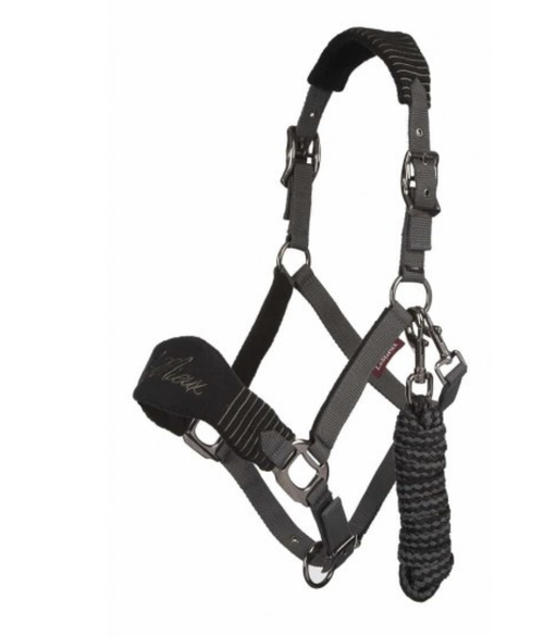 Le Mieux Vogue Fleece Headcollar & Lead Rope - Black/Grey