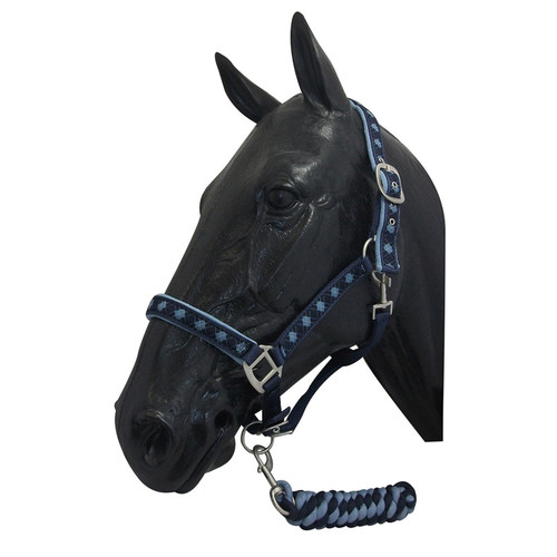ProTack headcollar & Lead Rope Set Deluxe - Full - Navy/Light Blue