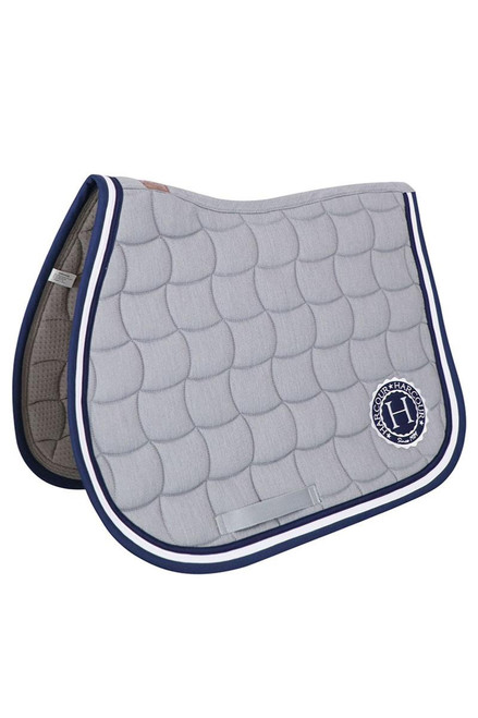 Harcour Cabourg Jump Saddle Pad and Fly Hood Set - Grey /Navy